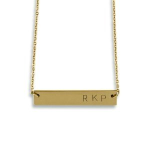 Personalized Horizontal Rectangle Matte Gold Tag Necklace image