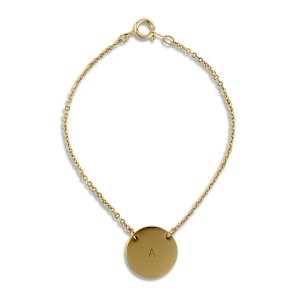 Personalized Matte Gold Circle Tag Bracelet image