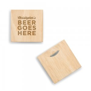Beer Goes Here Wood Coaster with Built-in Bottle Opener image