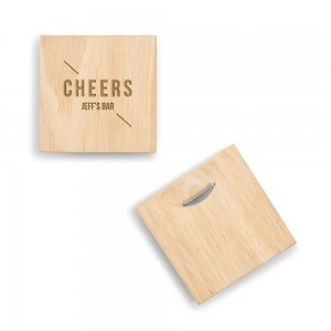 Cheers Wood Coaster with Built-in Bottle Opener image