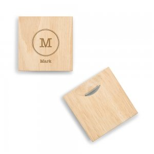Typewriter Monogram Wood Coaster with Bottle Opener image