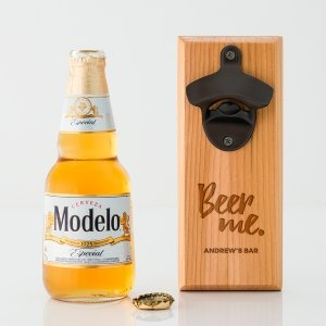 Beer Me Cedar Wood Wall Mount Bottle Opener image