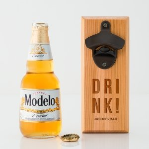 Drink Cedar Wood Wall Mount Bottle Opener image