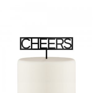 Block Cheers Acrylic Cake Topper - Black or White image