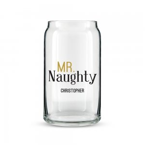 Mr and Mrs Naughty and Nice Personalized Can Shaped Glass image