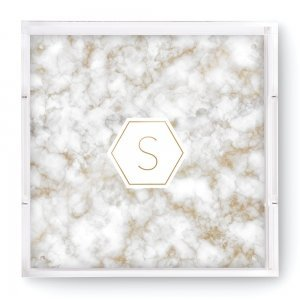 Geo Marble Initial Square Acrylic Tray image