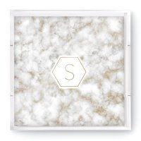 Geo Marble Initial Square Acrylic Tray