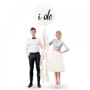 I Do Design Large White Round Wedding Balloons image