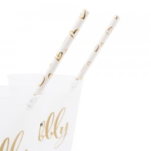Gold Foil Hearts Paper Drinking Straws (Set of 25) image