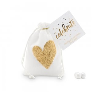 Gold Glitter Heart Muslin Drawstring Favor Bag (Set of 12) image