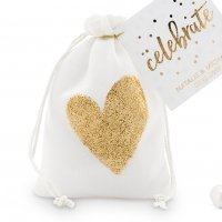 Gold Glitter Heart Muslin Drawstring Favor Bag (Set of 12)