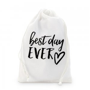 Best Day Ever Print Muslin Drawstring Favor Bag (Set of 12) image