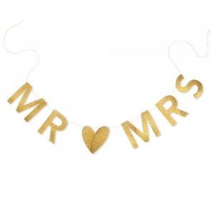 Mr & Mrs Gold Glitter Wedding Banner image