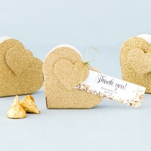 Gold Glitter Heart Favor Box (Set of 10) image