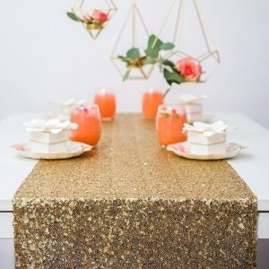 Glitzy Gold Sequin Table Runner image