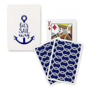 Navy Foil Let's Sail Away Playing Cards image