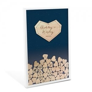 Starry Night Wedding Drop Box Guest Book with Hearts image