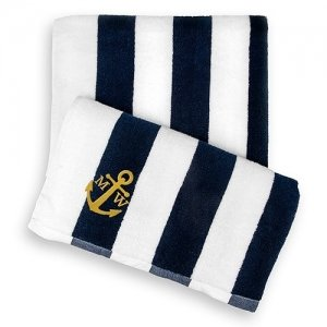 Navy Striped Terry Beach Towel image