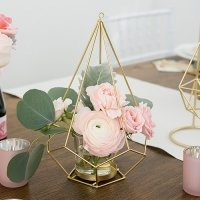 Tall Gold Geometric Candle or Flower Centerpiece - Set of 2