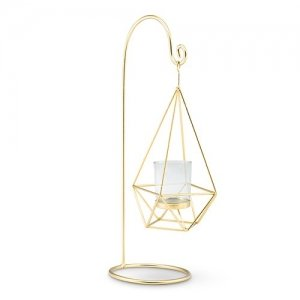 Large Gold Geometric Hanging Tealight Holder - Set of 2 image