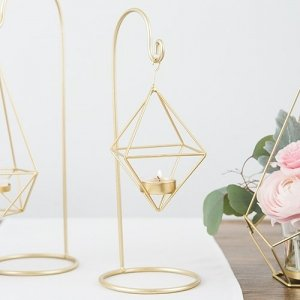 Small Gold Geometric Hanging Tealight Holder - Set of 2 image