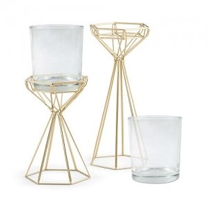Tall Gold Geometric Candle Holder Set image