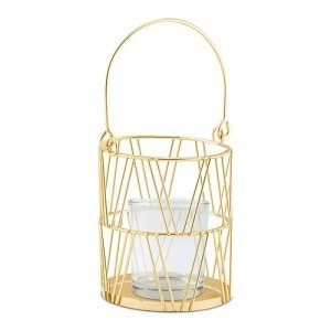 Gold Geometric Candle Lantern - Set of 2 image