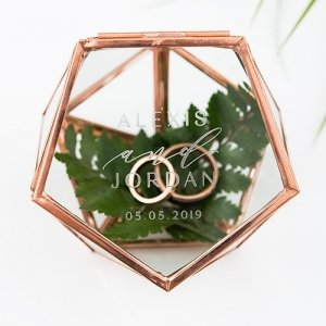 Modern Etched Small Glass Geometric Terrarium Style Ring Box image