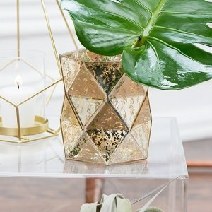 Gold Geo Mercury Glass Hurricane Vase image