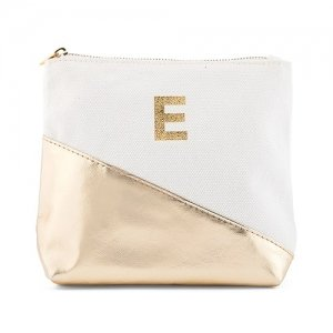 Canvas Makeup Bag With Metallic Gold image