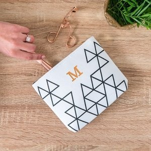 Geo Print Personalized Small Makeup Bag image