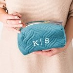 Quilted Velvet Travel Makeup Bag - 2 Colors