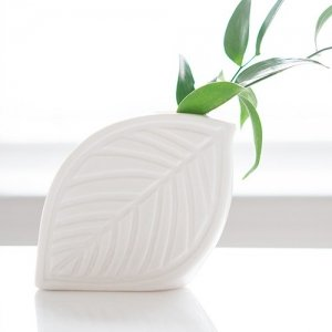 Decorative White Leaf Flower Vase (Set of 2) image