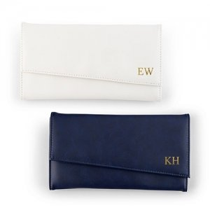 Faux Leather Travel Jewelry Organizer -White or Navy image