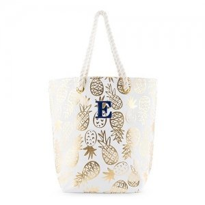 Gold Pineapple Print Personalized Canvas Tote image