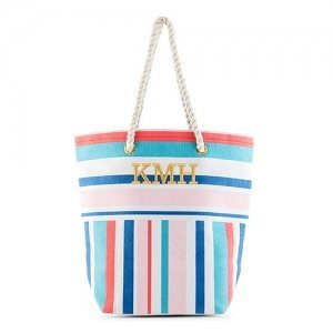 Bright Stripes Personalized Canvas Tote image