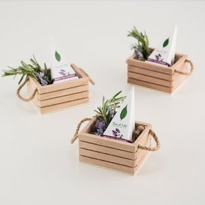 Mini Wooden Crate with Jute Handles - Set of 4 image