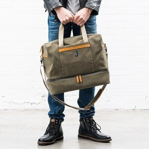 Genuine Leather & Canvas Weekend Carry On Bag image
