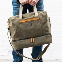 Genuine Leather & Canvas Weekend Carry On Bag