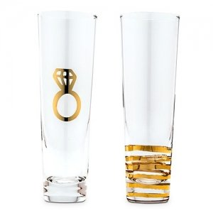 Engagement Set Metallic Gold Champagne Flutes image