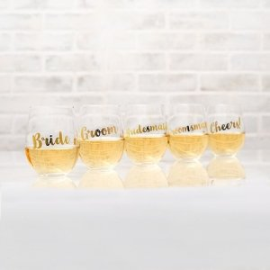 Wedding Party Metallic Gold Stemless Wine Glass image