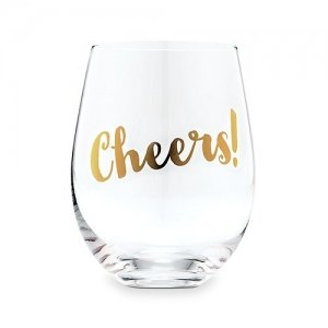 Cheers Metallic Gold Stemless Wine Glass image