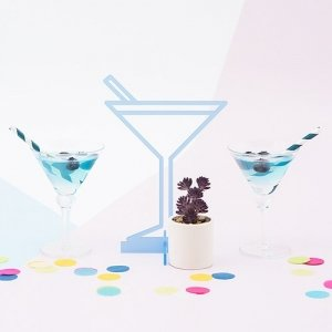 Pastel Blue Acrylic Tropical Martini Tabletop Decoration image