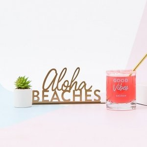 Acrylic Aloha Beaches Tabletop Sign In Metallic Gold image