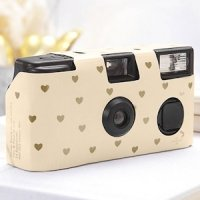 Ivory and Gold Hearts Design Single Use Camera