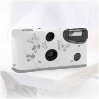 White and Silver Butterfly Throw Away Cameras for Weddings