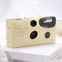 Ivory & Gold Hearts Disposable Wedding Cameras for Guests