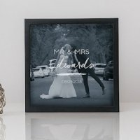 Script Etching Personalized Wedding Shadow Box Photo Frame