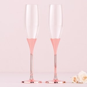 Rose Gold Diamond Glitter Toasting Flutes image