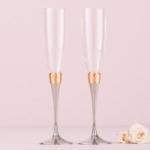 Hammered Gold & Polished Silver Toasting Flutes image